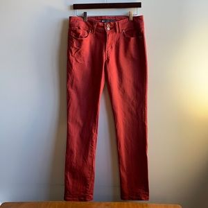 Red Levi's Mid Rise Skinny Double Button